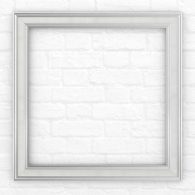 33 in. x 33 in. (L2) Square Mirror Frame in Chrome and Linen