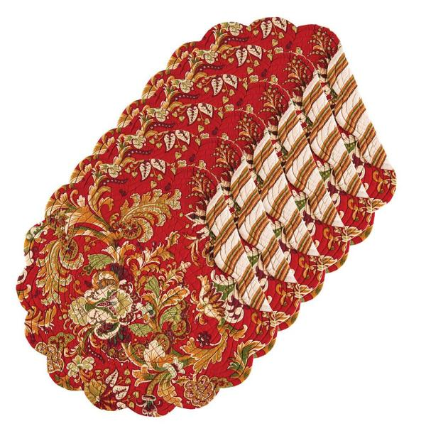C & F Home Jocelyn Red Round Placemat (Set of 6)