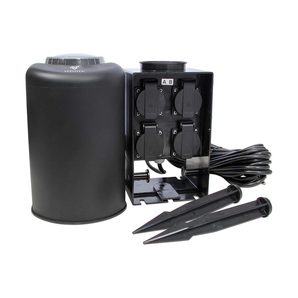 vepotek weatherproof outdoor pond landscape power extension station gfic breaker 33 ft cord. Black Bedroom Furniture Sets. Home Design Ideas