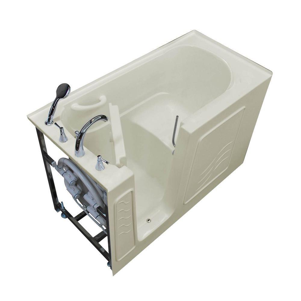 HD Series 30 in. x 60 in. Left Drain Quick Fill Walk-In Soaking Bathtub in Biscuit