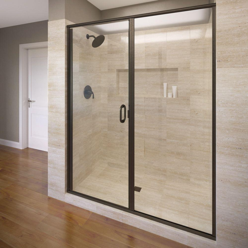 Basco infinity 47 in x 72 1 8 in semi frameless hinged shower door in oil rubbed bronze with aquaglidexp clear glass a3171 47xpor the home depot