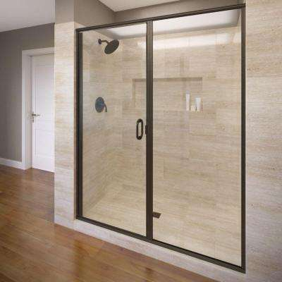 Infinity 58 in. x 76-1/8 in. Semi-Frameless Hinged Shower Door in Oil Rubbed Bronze with AquaglideXP Clear Glass