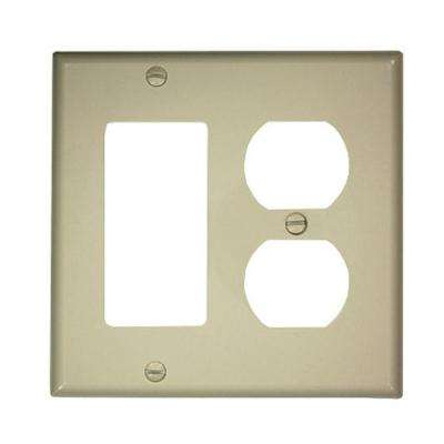 2-Gang 1-Duplex Receptacle 1-Decora Standard Size Nylon Combination Wall Plate, Light Almond