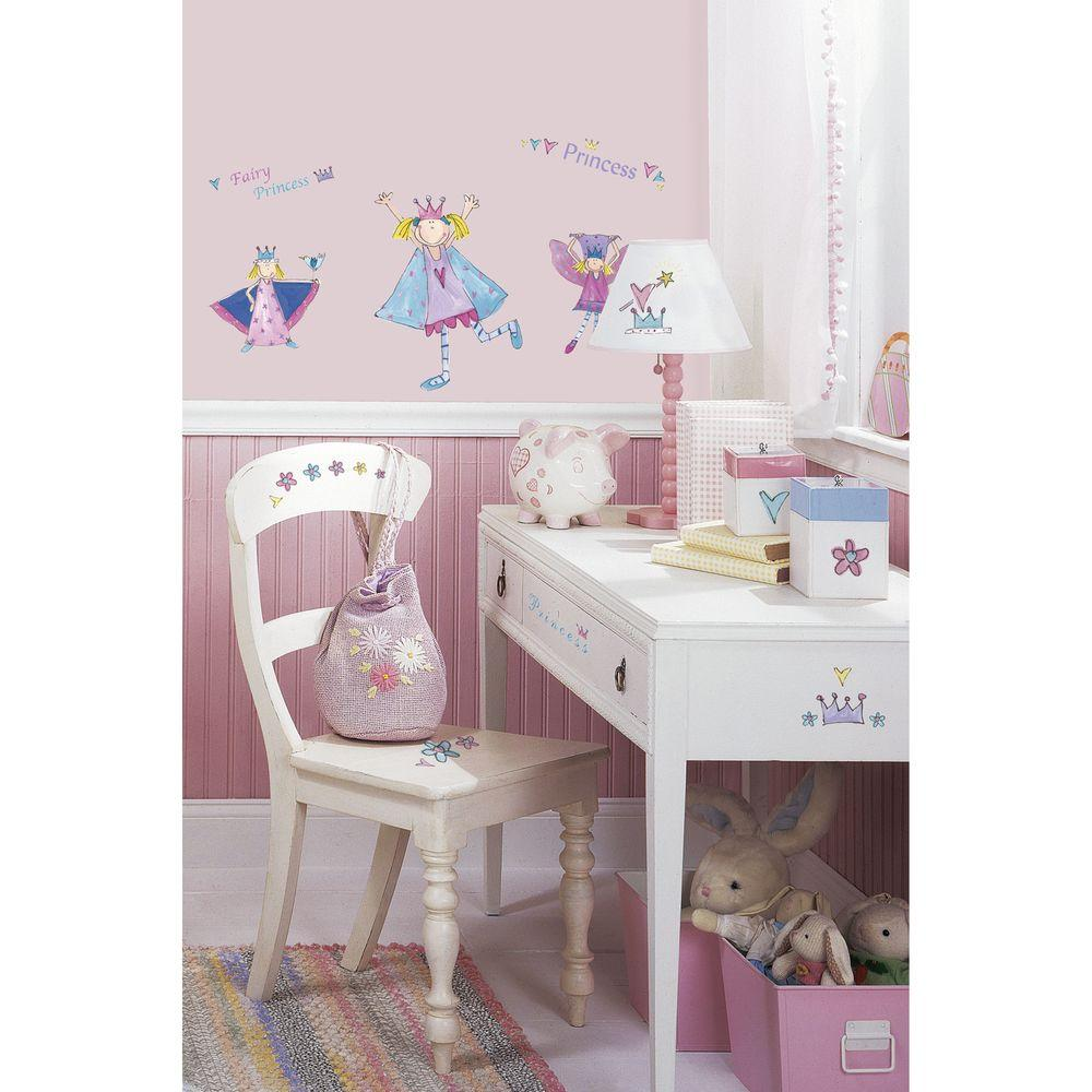 5 in. x 11.5 in. Fairy Princess Peel and Stick Wall