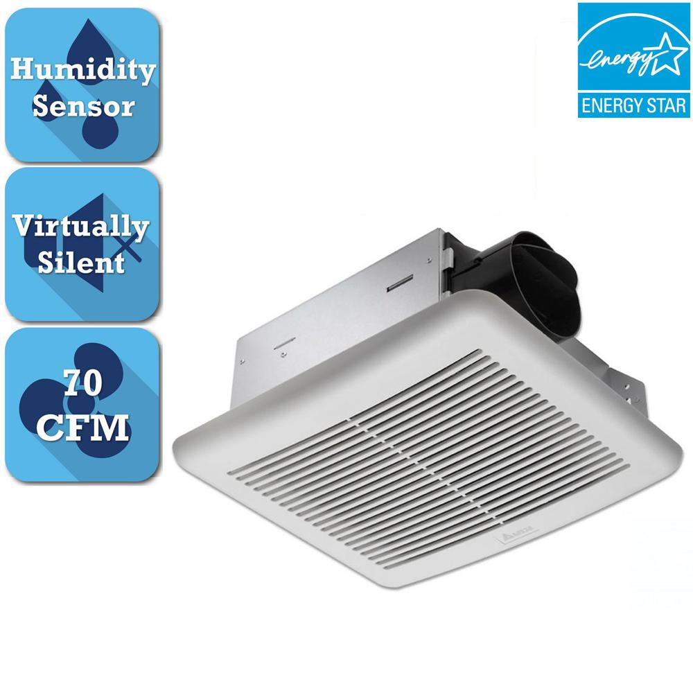 Delta Breez Slim Series 70 Cfm Wall Or Ceiling Bathroom Exhaust Fan With Humidity Sensor