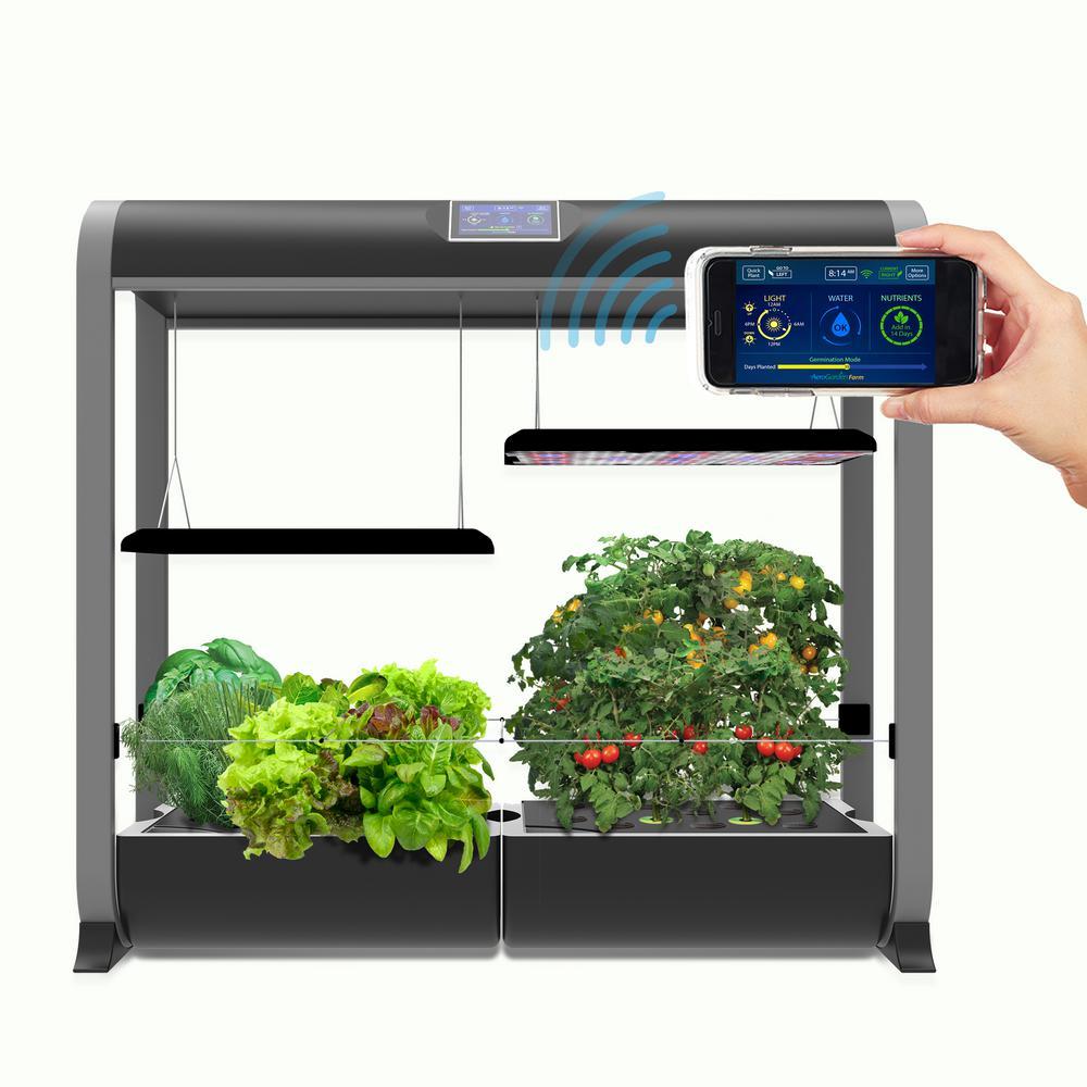 AeroGarden Farm Plus Hydroponic Indoor Garden in Black