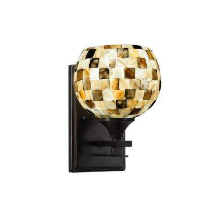 6.75 in. Dark Granite Sconce with 6 in. Sea Mist Seashell Glass