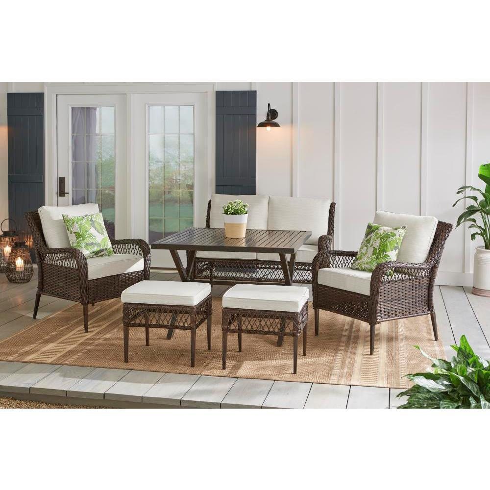 Hampton Bay Bayview 6 Piece Wicker Patio Conversation Set With Beige Cushions