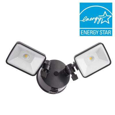 Contractor Select OLF 2SH 2-Head Bronze Outdoor Integrated LED Dusk to Dawn Outdoor Square Flood Light 4000K 120-Volt