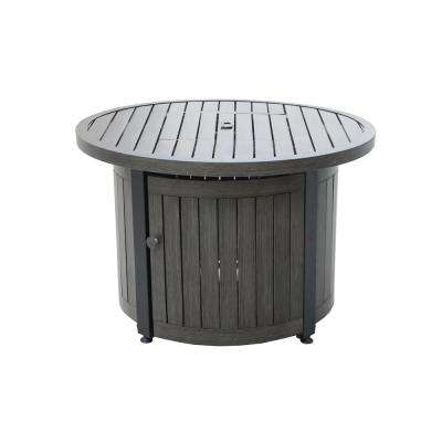 36 in. Round Aluminum LP Gas Fire Table, Weathered Grey Finish