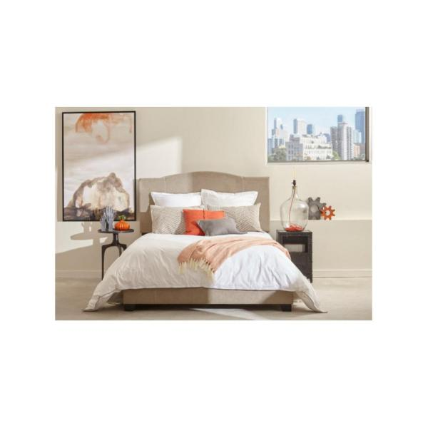 All-in-One Modified Camel Back Upholstered Beige Queen Bed