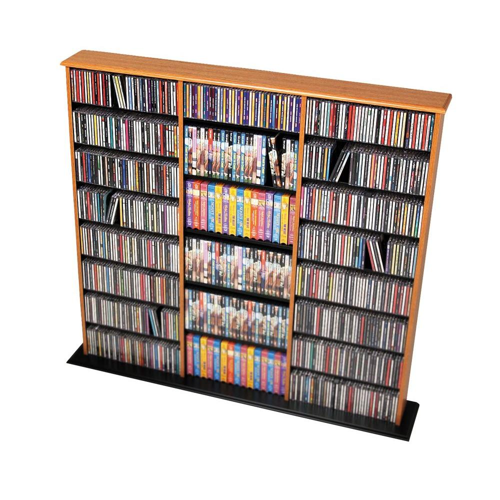 Prepac Oak Media Storage, Light Brown Wood