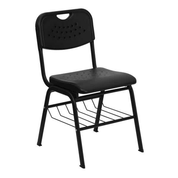 Carnegy Avenue Black Student Chair with Book baskets