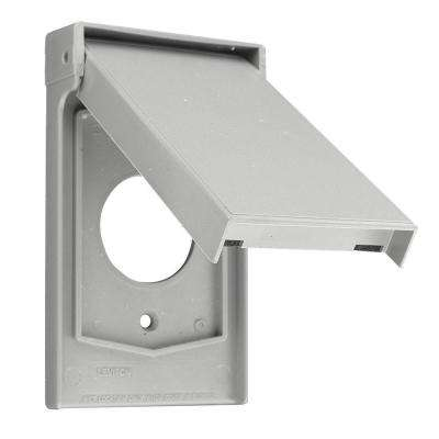 1-Gang Raintight, Weather Resistant, Single Receptacle, Vertical Mount Wall Plate with Self Closing Lid - Gray