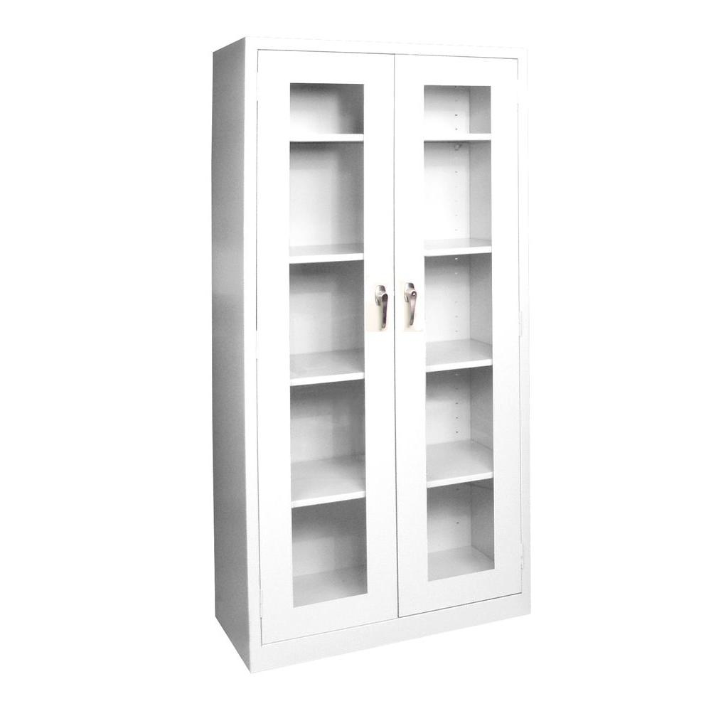 Sandusky 36 in. W x 72 in. H x 24 in. D Freestanding Clearview Steel Cabinet in Anti-Microbial White