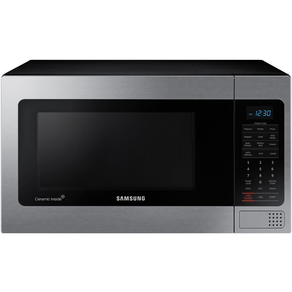 Samsung 1 Cu Ft Countertop Microwave In Stainless Steel With Ceramic Enamel Interior