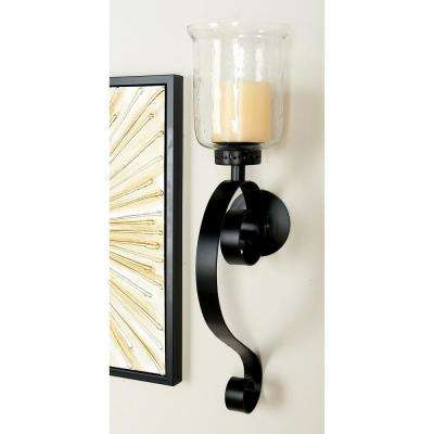 27 in. Wrought Iron Candle Sconce with Glass Hurricane Holder