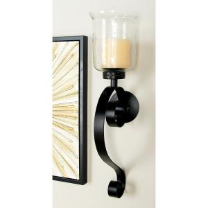 brand new b6746 b857f 27 in. Wrought Iron Candle Sconce with Glass Hurricane Holder