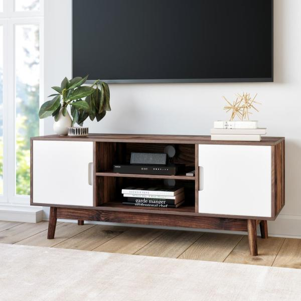 Nathan James Wesley Brown Scandinavian TV Stand With White Cabinet Door  (Fits TVs Up To