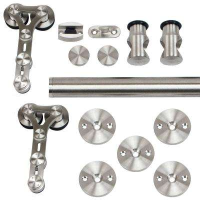 96 in. Stainless Steel Dual Wheel Strap Rolling Door Hardware Kit for Wood or Glass Door