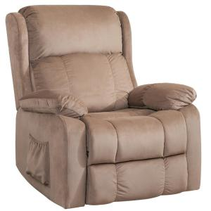 Power Lift Chair Soft Fabric Upholstery Recliner Living Room Sofa Chair with Remote, Walnut