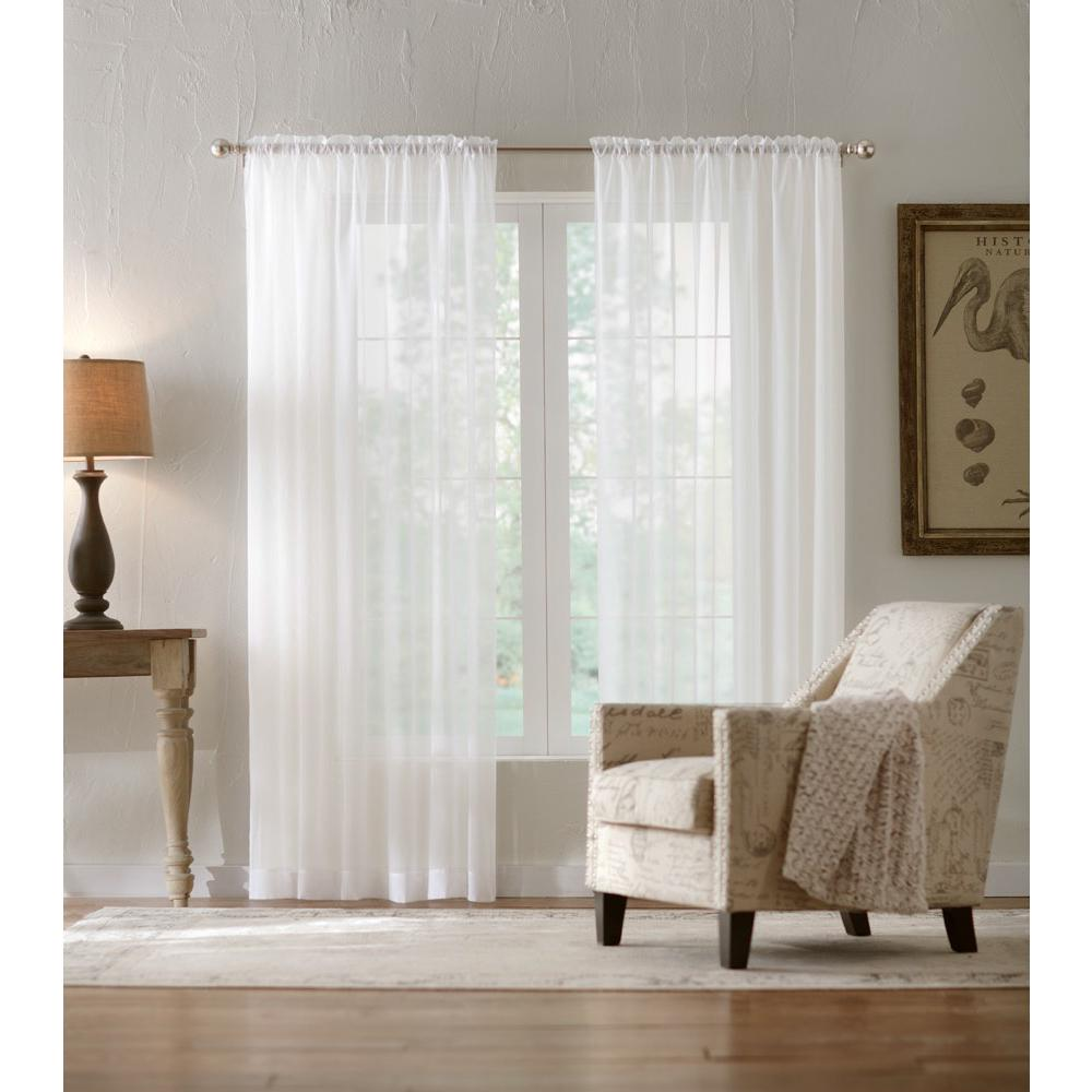 Home Decorators Collection Semi Sheer Window Panel in White - 50