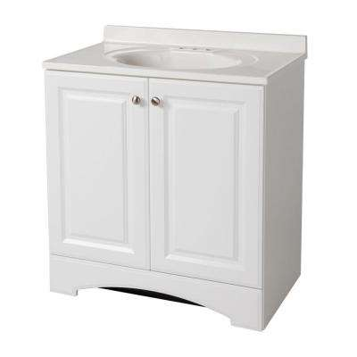 30 1 2 In W Vanity White With Cultured Marble Top