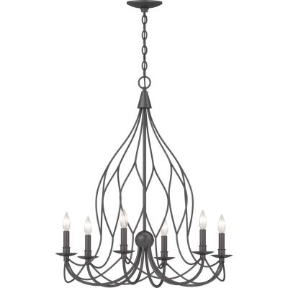 6-Light Indoor Antique Bronze Sculptural Candle-Style Hanging Chandelier with Candelabra