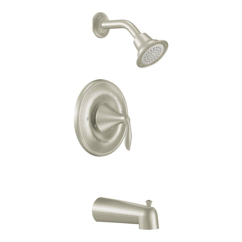 MOEN Eva 1-Handle Tub and Shower Trim in Brushed Nickel (Valve Not Included)