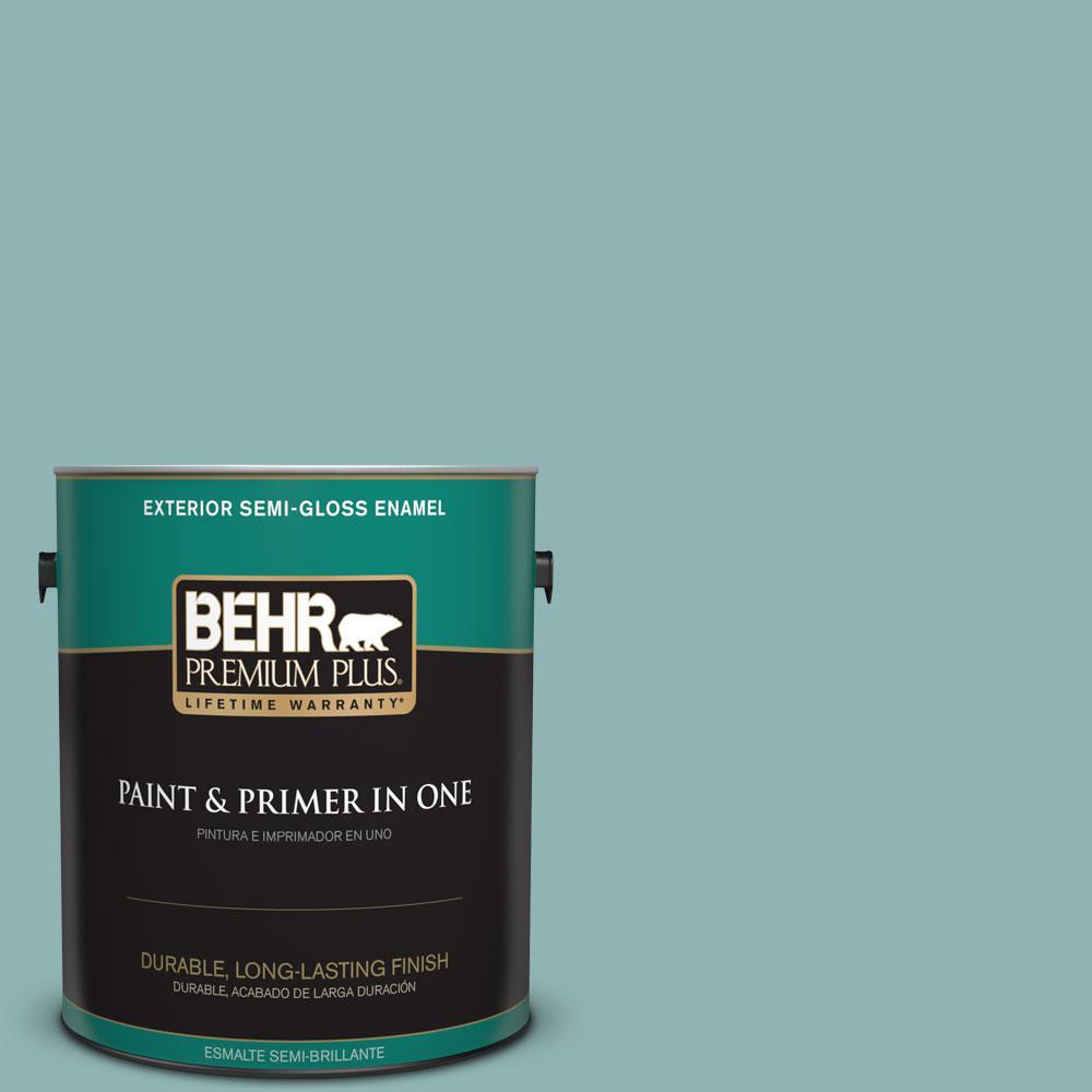 1-gal. #BIC-24 Artful Aqua Semi-Gloss Enamel Exterior Paint