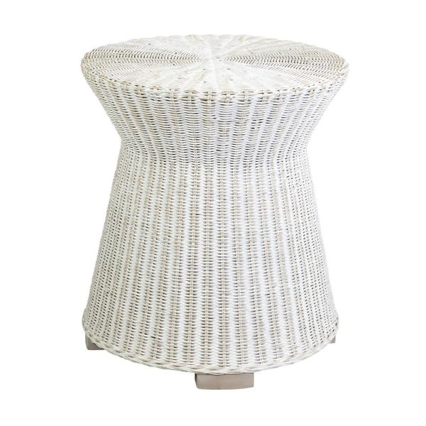 Akiman White Rattan Accent Table