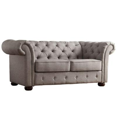 Radcliffe 68.5 in. Grey Linen 2-Seater Loveseat with Round Arms