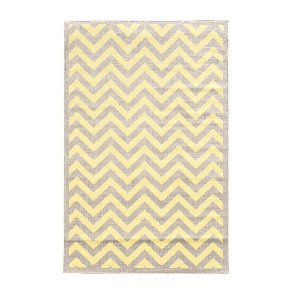 Linon home decor capri chevron grey and cream 4 ft 3 in x 7 ft 3 in indoor area rug rug - Rugs and home decor decor ...
