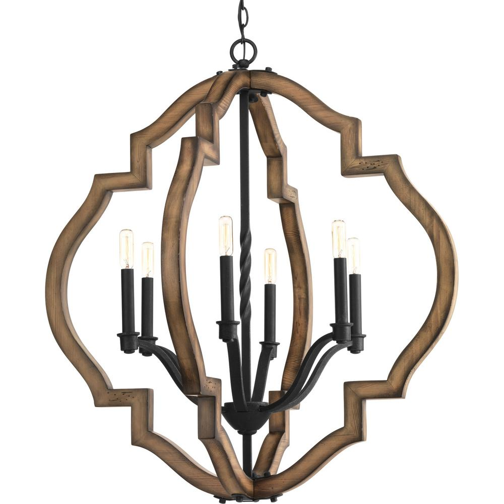 Progress Lighting Spicewood Collection 6 Light Black Gilded Iron Chandelier