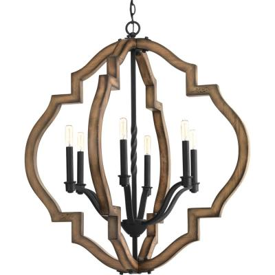 Spicewood Collection 6-Light Black Gilded Iron Chandelier