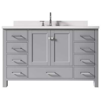 Cambridge 55 in. W x 22 in. D x 35 in. H Bath Vanity in Grey with Quartz Vanity Top in White with White Basin