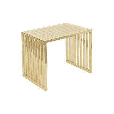 20 in. Gold Metal and Glass End Table