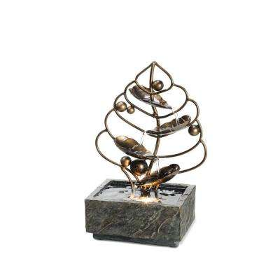 11.25 in. Antique Brass Leaf Brown Table Fountain