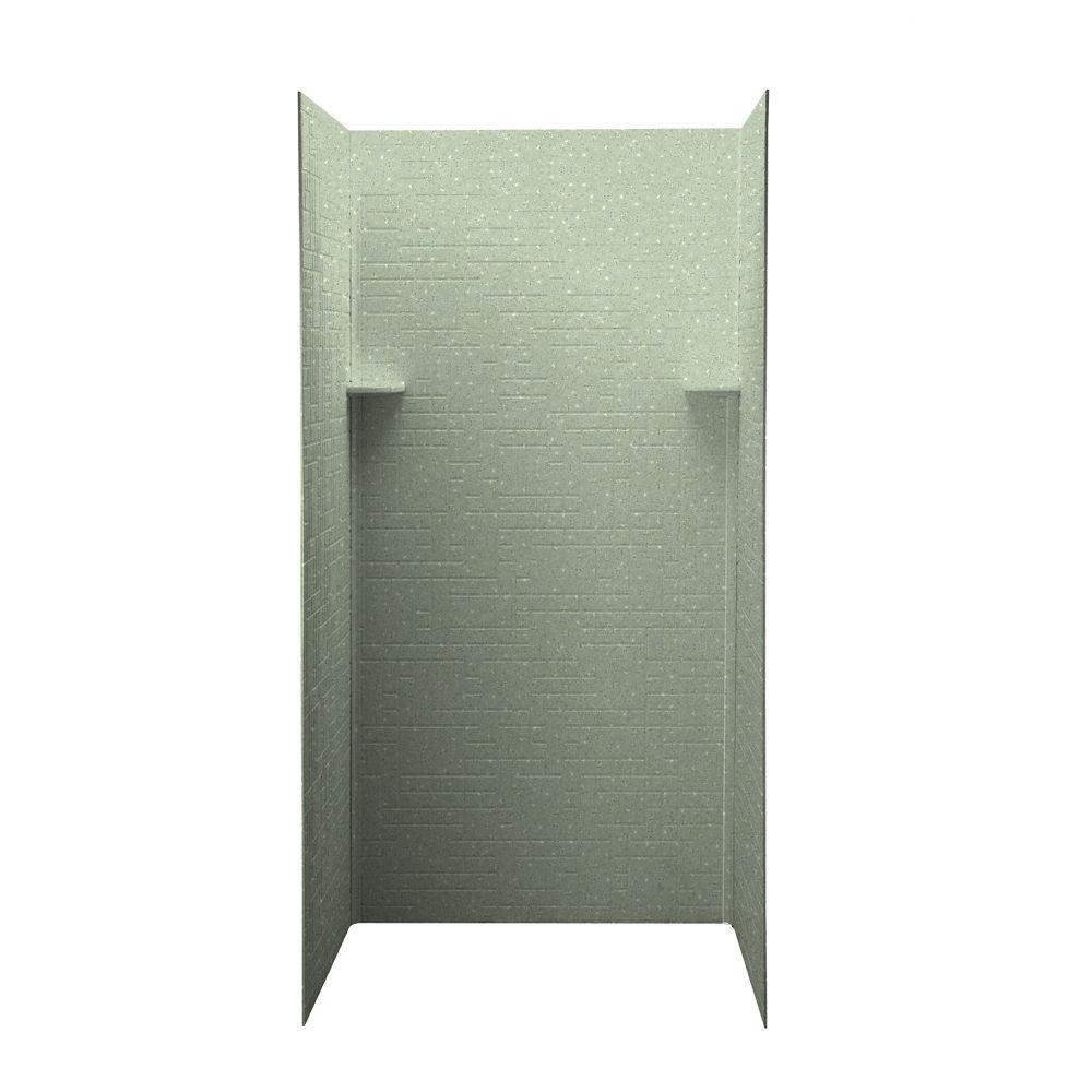 Swan Geometric 36 in. x 36 in. x 72 in. Three Piece Easy Up Adhesive Shower Wall Kit in Seafoam-DISCONTINUED
