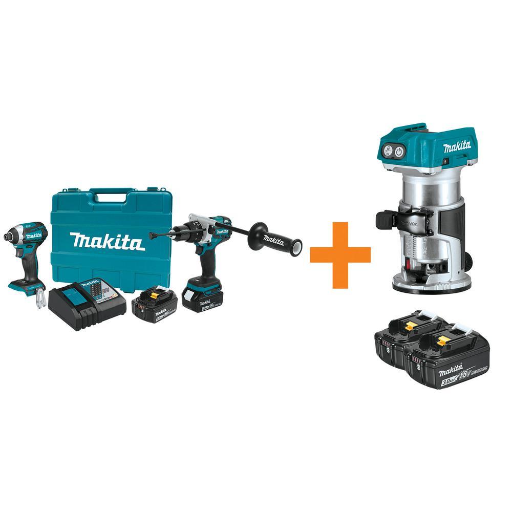 Makita 18V LXT Lithium-Ion Brushless Cordless Hammer Drill/Impact Driver Combo Kit w/BONUS 18V BL Router and... by Makita