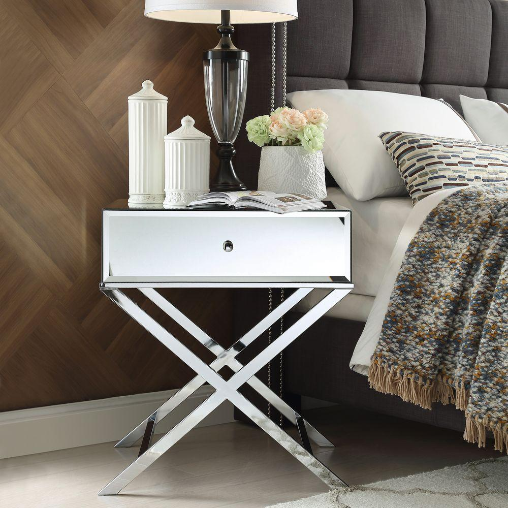Homesullivan cecilia chrome mirrored end table