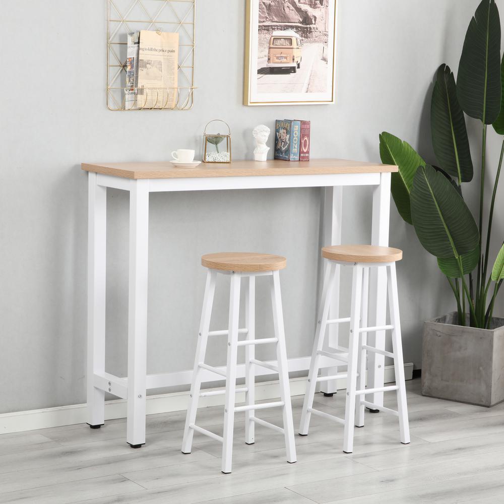 Walnut Modern 3-Piece Bar Dining Table Set