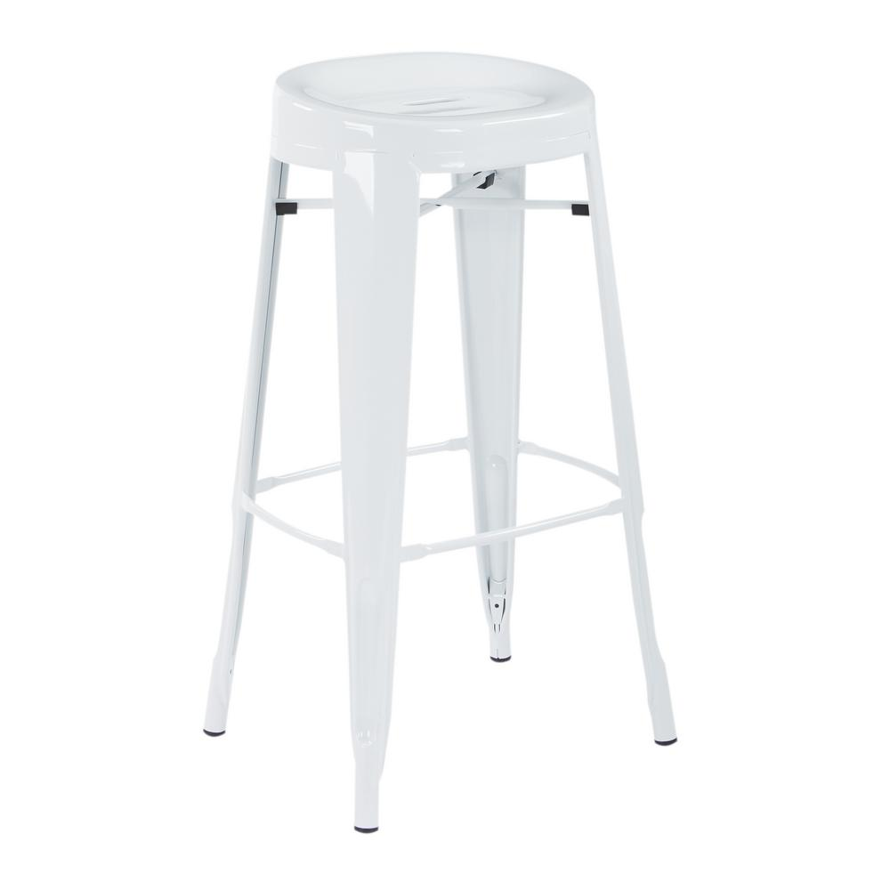 OSP Home Furnishings Stockton 30 in. Barstool in White (4 per Carton), White Steel Finish The Stockton 30 in. Barstool is the definition of casual sitting. This backless style stool comes fully assembled and is stackable for convenience. Perfect for house guests when throwing dinner parties or simply relaxing at home. Color: White Steel Finish.
