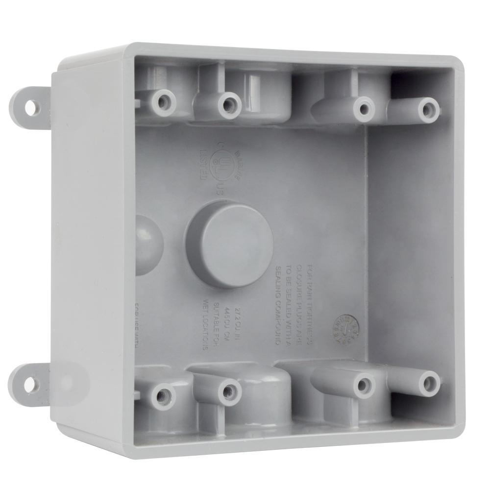 1/2 in. Gray 2-Gang 7-Holes Non-Metallic Weatherproof Box