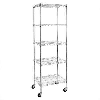 24 in. W x 72 in. H x 18 in. D 5-Shelf Steel Wire Wheeled Shelving Unit in UltraZinc