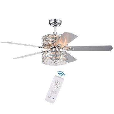 Empire Deux 52 in. Indoor Chrome Remote Controlled Ceiling Fan with Light Kit