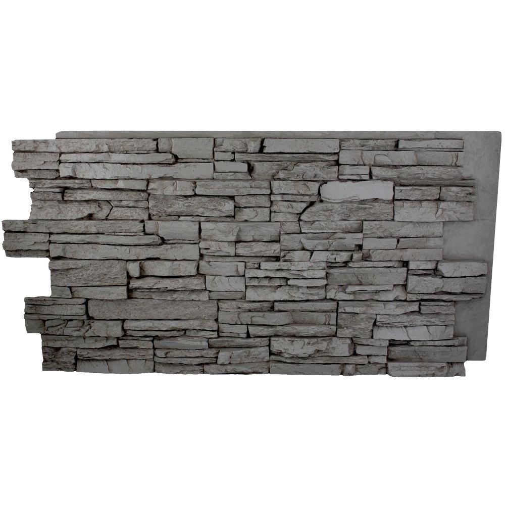 Superior Building Supplies Faux Grand Heritage 24 In. X 48 In. X 1 1/4 In.  Stack Stone Panel Gray Rock HD COL2448 GR   The Home Depot