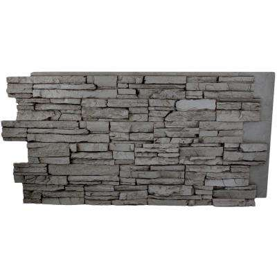 Faux Grand Heritage 24 in. x 48 in. x 1-1/4 in. Stack Stone Panel Gray Rock