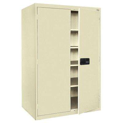 Elite Series 78 in. H x 46 in. W x 24 in. D 5-Shelf Steel Keyless Electronic Handle Storage Cabinet in Putty