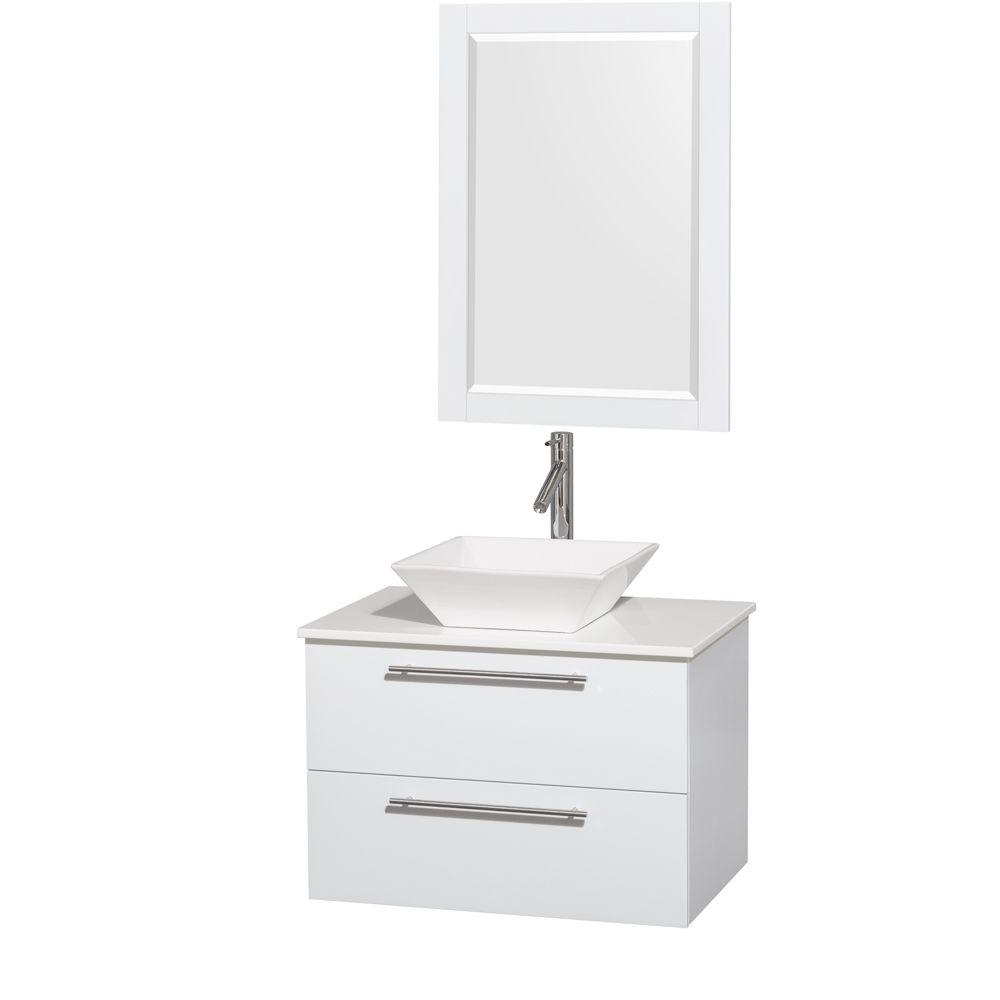 Amare 30 in. Vanity in Glossy White with Solid-Surface Vanity Top